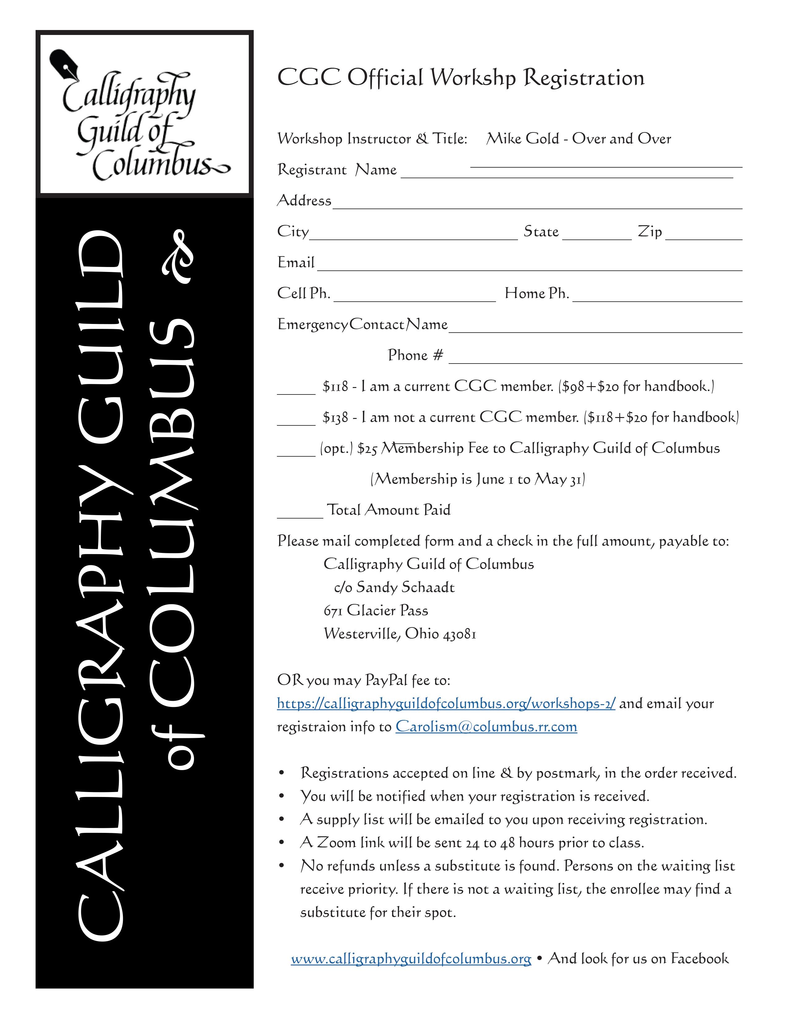 2020 Registration Form - Mike Gold.indd